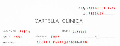 Cartella Clinica - Claudio Panto' - http://etranger.it/