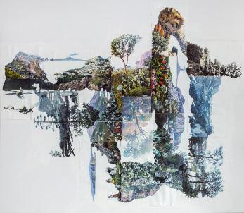 Eugenio Tibaldi, Myth's Landscape 01, 2016, collage di stampe digitali da cartoline e acrilico bianco