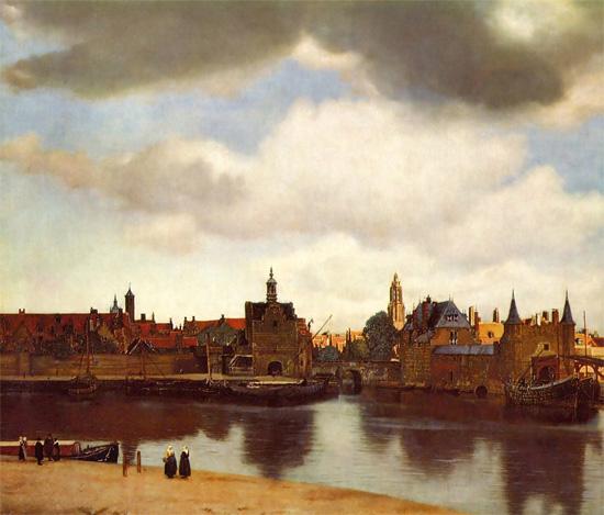 Johannes Vermeer, Veduta di Delft olio su tela, 96,5x115,7 cm (1660-1661 circa) L'Aia, Mauritshuis Museum (web)