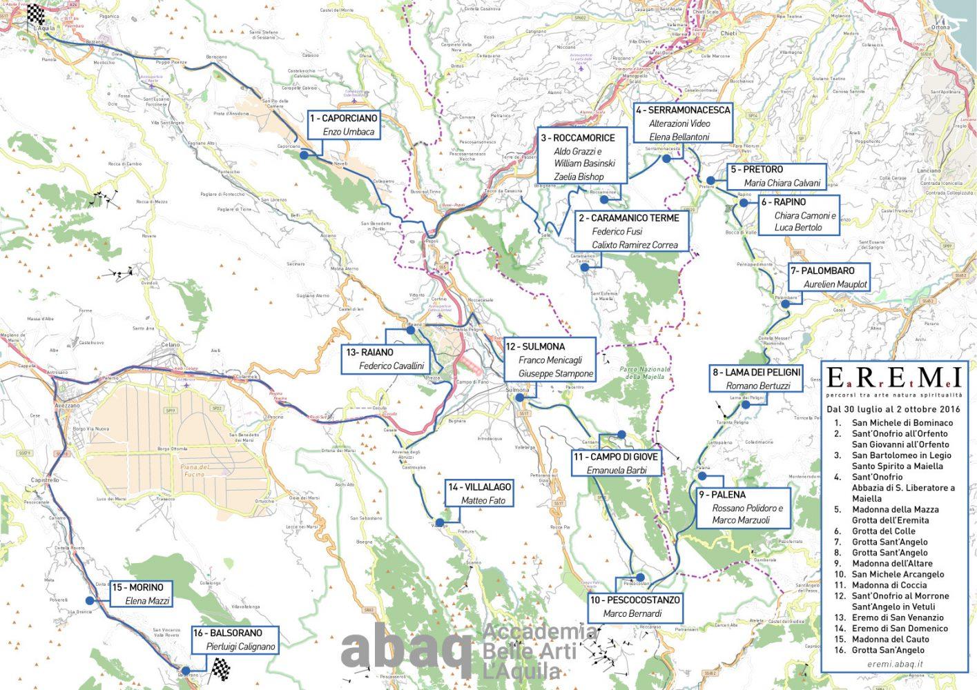 Mappa_ Eremi e artisti - Invito_ EREMI Arte - Percorsi tra Arte Natura Spiritualità - www.accademiabellearti.laquila.it