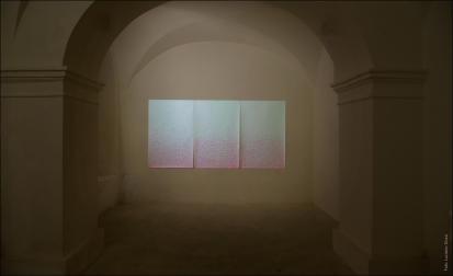 Valentina Colella, ... e dopo accadde il bianco, 2016, v1 v2 v3, 3 dipinti su carta, 150 cm x 100 cm