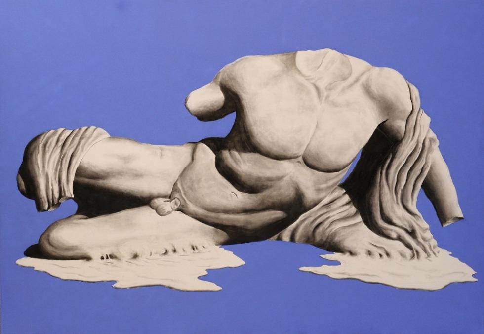 Alessandro Calizza, Global Warning - Atene Brucia - 200x290 - acrilic spray and charcoal on canvas - 2016