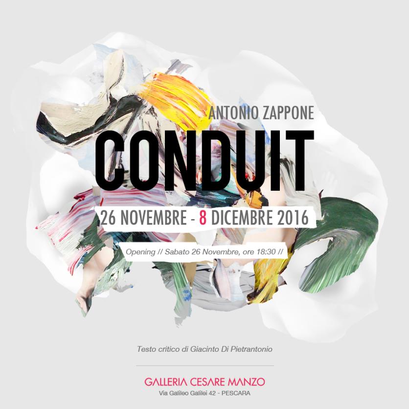 Antonio Zappone CONDUIT, Sabato 26 Novembre, Galleria Cesare Manzo - Pescara (manifesto)