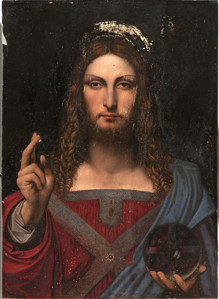 Leonardo da Vinci (1452 - 1519) e collaboratore Cristo come Salvator Mundi Olio su tavola di noce 68,6 x 48,9 cm Collezione privata (Ginevra, Svizzera)
