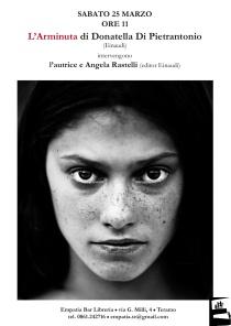 L'arminuta di Donatella Di Pietrantonio, sabato 25 marzo, Empatia Bar & Libri - Teramo (manifesto , locandina)