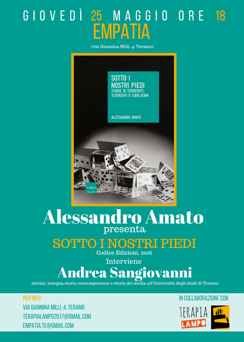 Alessandro Amato - Sotto i nostri piedi, 25 maggio, Empatia Bar & Libri - Teramo