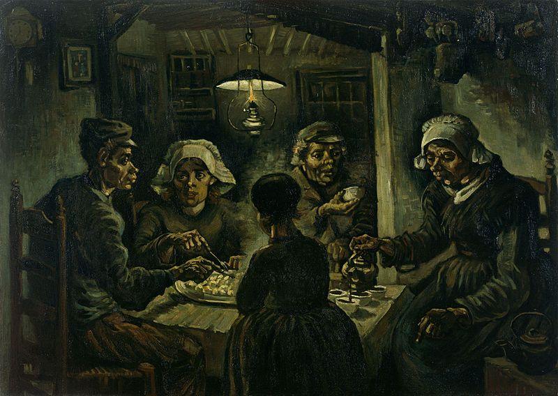 Vincent Van Gogh, I mangiatori di patate, olio su tela (82x114 cm), 1885, Museo Van Gogh di Amsterdam (web)