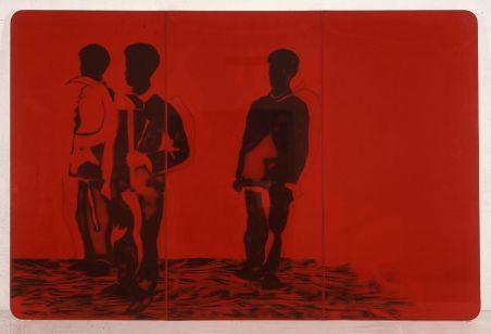 Mario Schifano (Homs 1934-Roma1998) Compagni compagni, 1968, smalto e spray su tela e perspex, cm 200 x 300. Collezione privata, Courtesy Fondazione Marconi, Milano. Mario Schifano, by SIAE 2018