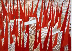 Giulio Turcato (Mantova 1912-Roma 1995) Comizio 1950, olio su tela, cm 145 x 200. Roma, Galleria d'Arte