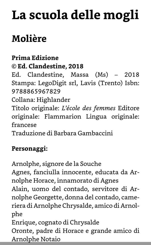 La scuola delle mogli - Molière - Edizioni Clandestine, 2018